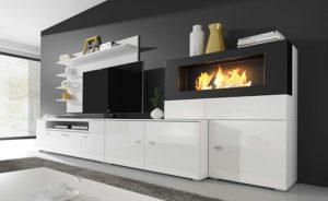 Mueble con chimenea de bioetanol